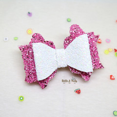 White Pink Hair Bow
