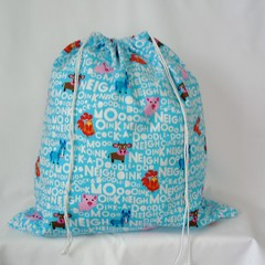 Large Drawstring Bag - Animal Noises Design