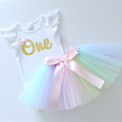 Pastel Rainbow Tutu & Gold Glitter 1st Birthday Outfit - Lace Flutter Sleeves