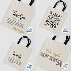Teacher definition Best Teacher Shopping Bag Canvas tote Gift Bag Personalised