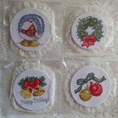 Lacy Christmas Decorations - Set of 4
