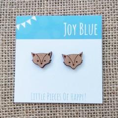 Wooden stud earrings Fox