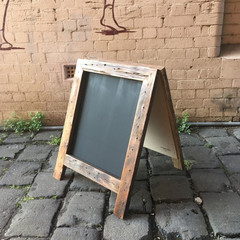 Rustic A-Frame Chalkboard, Pavement Menu Board, Classic Blackboard, Recycled