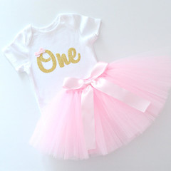 Pink Tutu and Gold Glitter 1st Birthday Outfit - Short Sleeve