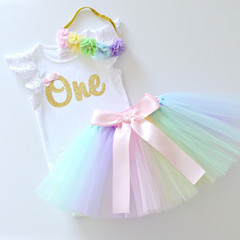 Pastel Rainbow Tutu & Gold Glitter 1st Birthday Outfit with Flower Headband