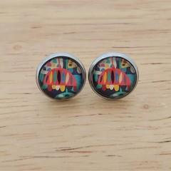 Glass dome stud earrings Multi coloured flowers