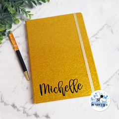Personalised Gold Notebook  & pen.   Sparkle Glitter Teacher Gift