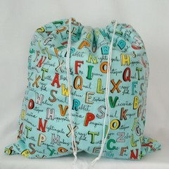 Large Drawstring Bag - Alphabet Animal Design