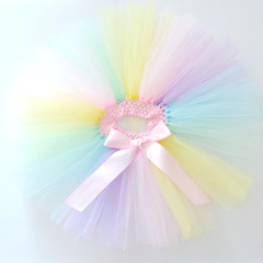 Pastel Rainbow Tutu First Birthday and Cake Smash Outfit