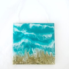 GOLDEN OCEAN   Wall hanging artwork   Art for your wall   Small art