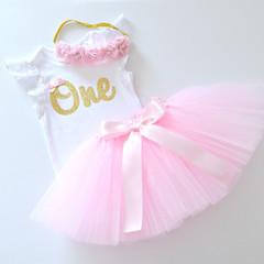 Pink Tutu & Gold Glitter First 1st Birthday Outfit with Flower Headband