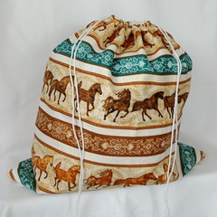 Large Drawstring Bag - Horses, Horses Everywhere Design
