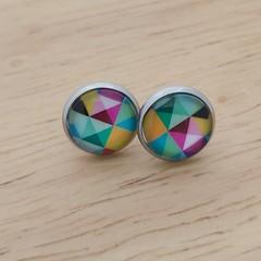 Glass dome stud earrings multi coloured.
