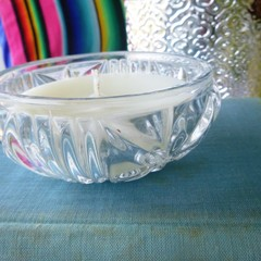 Candle in vintage glass dish
