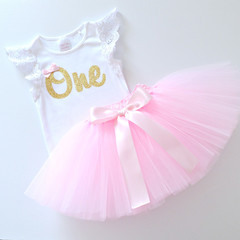 Pink Tutu & Gold Glitter 1st Birthday Outfit