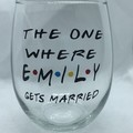 Friends  personalised Stemless wineglass.