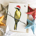Christmas Card with Helmeted Honeyeater wearing Santa hat. Australian bird bee