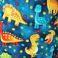 Large Drawstring Bag -  Dinosaurs Galore Design