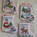 Xmas Stocking Decorations - Set of 4
