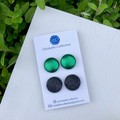 Large stud pack - metallic green and black sparkle