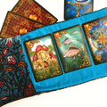 Blue Velvet Tarot Bag and Reading Cloth - Lenormand Card Holder - Persian Carpet