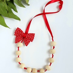 Wooden Bead Necklace (with Removable Hair Clip) - Various Colours - Girl