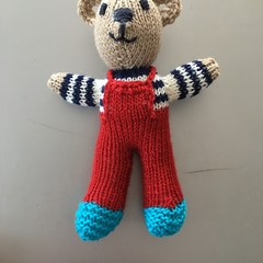 """Mini-Bear"" (Red) Hand Knitted in Patons Bluebell Yarn"