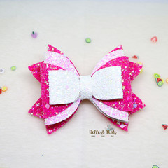 White Fuschia Hair Bow