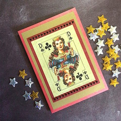 Inspirational 'Queen of Clubs'  Red Pearlised Card