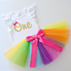 Bright Rainbow Tutu & Gold Glitter 1st Birthday Outfit - Lace Flutter Sleeves