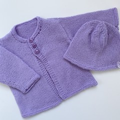 Lilac Cardigan and hat - Newborn - pure wool - Hand knitted