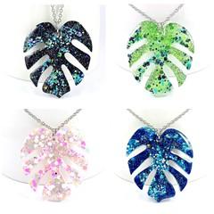 Monstera leaf necklaces