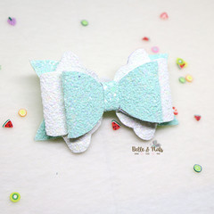 Mint Green White Hair Bow