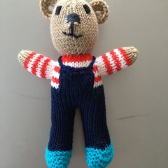 """Mini-Bear"" (Navy) Hand Knitted in Patons Bluebell Yarn"