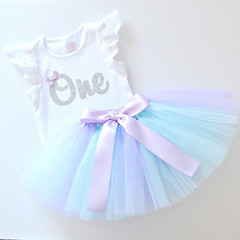 Pastel Mermaid Tutu & Silver Glitter 1st Birthday Outfit - Lace Flutter Sleeves