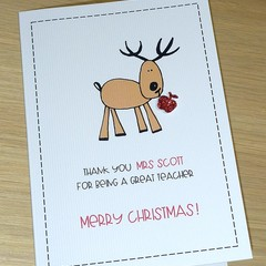 Personalised Teacher thank you Christmas card - reindeer
