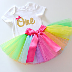 Bright Rainbow Tutu & Gold Glitter 1st Birthday Outfit - Short Sleeve
