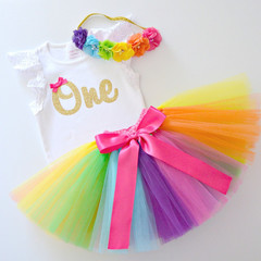 Bright Rainbow Tutu & Gold Glitter 1st Birthday Outfit with Flower Headband