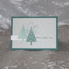 White and Aqua Christmas Card