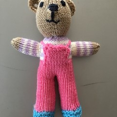 """Mini-Bear"" (Pink) Hand Knitted in Patons Bluebell Yarn"