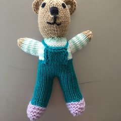 """""""Mini-Bear"""" (Teal) Hand Knitted in Patons Bluebell Yarn"""