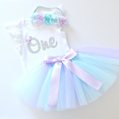 Pastel Mermaid Tutu & Silver Glitter 1st Birthday Outfit with Flower Headband