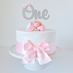 Silver Glitter 1st Birthday 'One' Cake Topper with Pink Bow