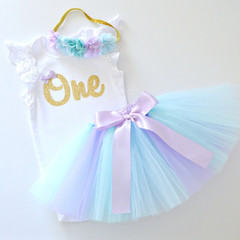 Pastel Mermaid Tutu & Gold Glitter 1st Birthday Outfit with Flower Headband