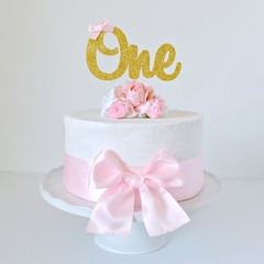 Gold Glitter 1st Birthday 'One' Cake Topper with Pink Bow
