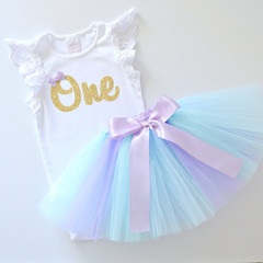Pastel Mermaid Tutu & Gold Glitter 1st Birthday Outfit - Lace Flutter Sleeves