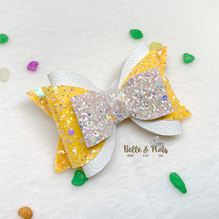 Yellow White Hair Bow