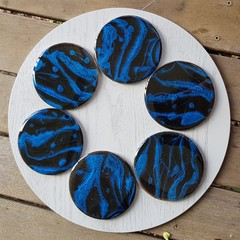 Electric blue / black resin art coasters