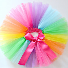 Bright Rainbow Tutu 1st First Birthday and Cake Smash Outfit