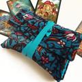 Blue Velvet Tarot Bag and Reading Cloth - Lenormand Card Holder - Persian Carpet